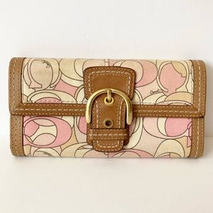 Coach Optic Pink White Tan Leather Buckle Wallet